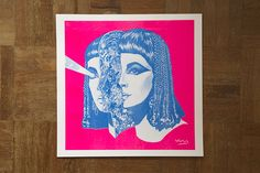 2 colour risograph print by Kristal Melson, titled 'Cleopatra'. Printed by: Knuckles & Notch Graphic Design Illustration, Illustration Art, Linocut Prints, Art Prints, Book Design Layout, Textiles, Screen Printing, Art Drawings, Printmaking