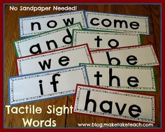DIY Tactile Sight Words--with no sandpaper!!  Free templates for the first 75 Dolch sight words.  Step-by-step directions