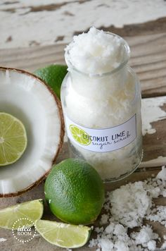 Coconut-Lime-Sugar-Scrub  Ingredients: 1/4 cup coconut oil (melted) 1 cup white sugar 1 TBSP shredded coconut 6-8 drops of Lime Essential Oil  Instructions: Melt Coconut oil in microwave. Mix in with the sugar, until fully incorporated. Add the coconut and the Lime Oil. Mix together. Makes one cup of scrub.