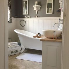 Country style bathroom ideas country style bathrooms french country bathroom designs home decor french bathroom french . Ensuite Bathrooms, Basement Bathroom, 1950s Bathroom, Bathroom Bath, Victorian Bathroom, Small Spa Bathroom, Bathroom Wainscotting, Bathroom Colours, Dark Gray Bathroom