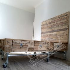 Scaffold and Pallet Wood Bed with Headboard and Drawers. Modern Upcycled…