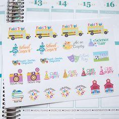 School Events Stickers | Set of 25 | Erin Condren Life Planners, Plum Paper, Calendars, Scrapbooking