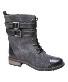 Look what I found on #zulily! Black Double-Buckle Battle Combat Boot #zulilyfinds