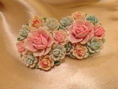 1930s-40s Screw back Earrings Molded Celluloid Flower