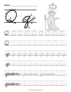 Free printable cursive d worksheet cursive writing worksheets help kids learn how to write both an uppercase and a lowercase cursive letter q with this fun handwriting worksheet featuring a queen expocarfo Images