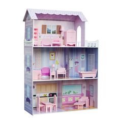 Teamson Kids Fancy Mansion Wooden Doll House with Furniture