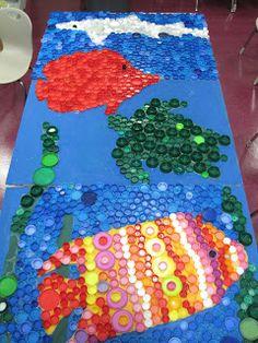 Princess Artypants: Visual Arts in the PYP: Work in Progress: Bottlecap Ocean Mural