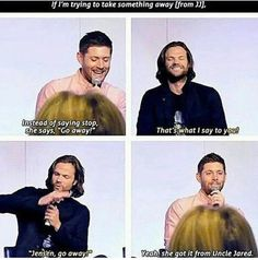 I love the fact that they've become brothers in real life. It just makes me really fuckin happy. #Winchesters #SPNfamily