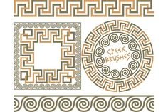 Illustration about Set 3 of brushes to create the Greek Meander patterns and samples of their application for round and square frames. Brushes included in the file. Illustration of drawing, brush, beautiful - 62145082 Square Patterns, Floor Patterns, Mosaic Patterns, Dance Vector, Greek Pattern, Ancient Greek Art, Greek Design, Ancient Greek Architecture, Scary Art