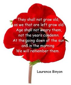 """ANZAC Day - 25 April - LEST WE FORGET The """"Ode of Remembrance"""" is an ode taken from Laurence Binyon's poem, """"For the Fallen"""", which was first published in The Times in September Remembrance Day Poems, Remembrance Poppy, We Are The World, World War One, Bujo, Poppy Craft, Armistice Day, My Champion, Anzac Day"""