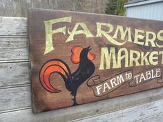 hand painted faux-retro  # Farmers Mkt.  sign by ZekesAntiqueSigns