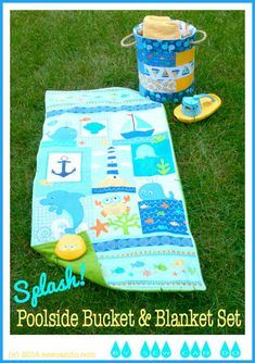 Sew Can Do: Splash!  Poolside handled fabric bucket and beach towel mat tutorial.  The bucket-tote is great for hauling towels & water toys.  The terry-backed mat is perfect for hanging by the pool, lake or on the beach and drying off.