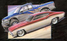 Chip Foose automotive design, custom cars, art and the Overhaulin' television show. Chip Foose, Air Brush Painting, Car Painting, Ford Gt, Audi Tt, Maserati, Art Transportation, Peugeot, Volkswagen