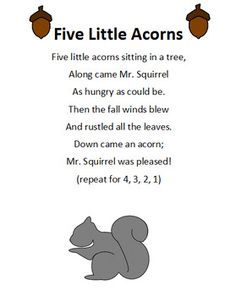 Great for preschool, kindergarten or special education. Can laminate tree to put acorns onto it. Then pull off acorns during the Five Little Acorns poem. Or you can put the acorns onto Popsicle sticks for an interactive circle with your students holding them.