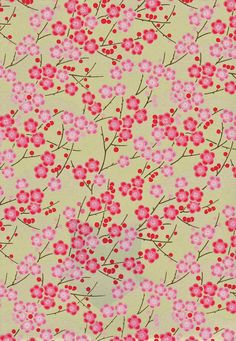 Hot Pink  and Gold Blossoms Japanese Yuzen by mosaicmouse on Etsy