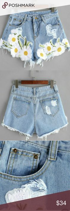 DAISIES NEVER LOOKED SO PRETTY! STUNNING light blue ripped raw hem denim jean shorts, Get ready for many compliments! DID YOU SEE THE DAISIES? ?   ?? Small : Waist 26, Length 11.8,Hip 35.5  ?? Medium : Waist 28, Length 12.2, Hip 37  ?? Button Fly Jeans
