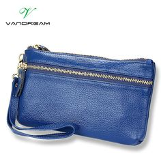 Genuine Leather New fashion Women Coin Purse Long Clutch Bag Wallets Wristlet leather zipper Change cowhide handbags candy color