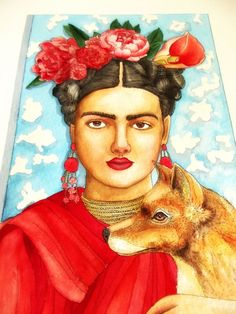 Frida Kahlo and her fox dog. Aquarelle par WatercolorRosedraft
