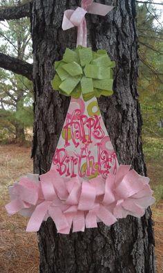 Girls first birthday door hanger