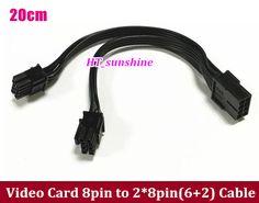 50PCS ~ 100PCS Free Shipping PCI-E PCI Express 8pin Female to Dual ports 8(6+2)pin Male Power Cable 20cm Y-type Ribbon Cable #Affiliate