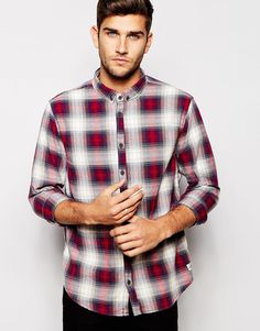 """Check shirt by Blend Breathable cotton Button-down collar Button placket Curved hem Regular fit - true to size Machine wash 100% Cotton Our model wears a size Medium and is 188cm/6'2"""" tall"""