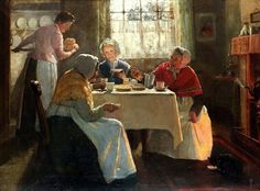 Mary Evelina Kindon (British painter) fl. 1879 - 1918 A Cosy Party, ca. 1893 oil on canvas 77 x 102 cm. (30.25 x 40 in.) signed 'MKINDON' (lower right) private collection