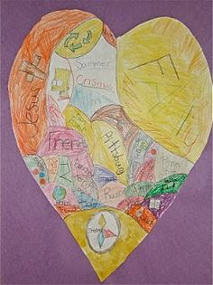The Graders went soul searching with this project. They created these Heart Maps to represent things that are very important to th. Crafts To Do, Arts And Crafts, Elementary Art Rooms, Heart Map, Art School, School Days, School Stuff, Expressive Art, Art Classroom
