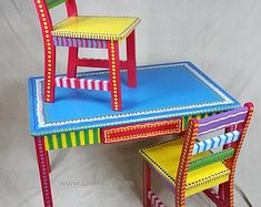 Child'S table and two chairs set- custom hand painted furniture made to order by lisafrick Whimsical Painted Furniture, Hand Painted Chairs, Hand Painted Furniture, Funky Furniture, Paint Furniture, Handmade Furniture, Kids Furniture, Furniture Making, Furniture Makeover