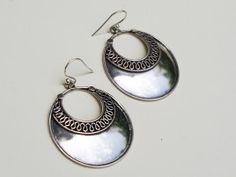 For sale ~Ethnic Disc Silver Earrings