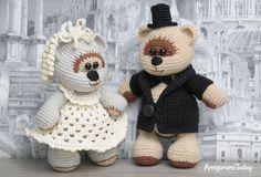 Crochet wedding bears - free pattern