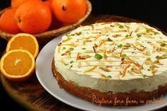 Prajitura fara faina cu portocale si crema philadelphia Romanian Desserts, Flourless Cake, No Cook Desserts, Food Cakes, Orange, Camembert Cheese, Philadelphia, Cake Recipes, Food And Drink