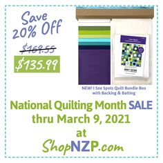 """National Quilting Month 5-Day SALE at ShopNZP.com 20% Off NEW! I See Spots Quilt Bundle Box! Plus FREE Standard Shipping on orders over $50 thru March 9 ShopNZP.com NEW! I See Spots Quilt Bundle Box includes Riley Blake Confetti Cotton Fabrics, NEW! I See Spots Quilt Pattern, and everything you'll need to make this 80"""" W x 88"""" L modern quilt! #NZPBlog #NationalQuiltingMonth #ISeeSpotsQuilt #ModernQuilting #CircleQuiltBlock #StitchitSisters #RileyBlakeDesigns #TeamNZP #ShopNZP Quilting Patterns, Quilt Pattern, Sewing With Nancy, Nancy Zieman, March 9th, Riley Blake, Sewing Techniques, Quilt Blocks, Confetti"""