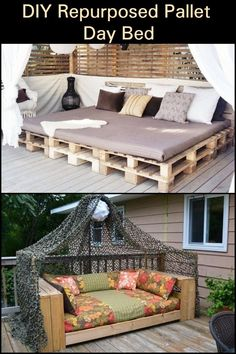 Diy Outdoor Daybed Do It Yourself 21 Ideas For 2019 Pallet Daybed, Diy Daybed, Pallet Lounge, Diy Pallet Couch, Pallet Walls, Pallet Tv, Pallet Diy Easy, Pallet Couch Outdoor, Pallet Garden Furniture