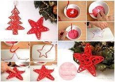 DIY Yarn Christmas Tree Ornaments | www.prakticideas.com