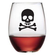 Stemless Wine Glasss Set of 4 Skull and Crossbones. Unique Wine Glasses Set Great for Parties and Events. This Set of Decorative Glass. Black Wine Glasses, Colored Wine Glasses, Unique Wine Glasses, Stemless Wine Glasses, Colored Glass, Halloween Scene, Halloween Skull, Gothic Halloween, Halloween Wine Glasses