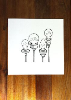 an original artwork - hand drawn lightbulbs reach for the sky - a light bulb drawing in simple black and white. like lightbulb ideas - pop this one