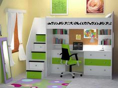 Astound Queen Loft Bed with Desk for House Indoor Furniture: amazing-view-of-the-best-design-of-the-queen-loft-bed-with-desk-which-has-the-green-and-white-colors-scheme