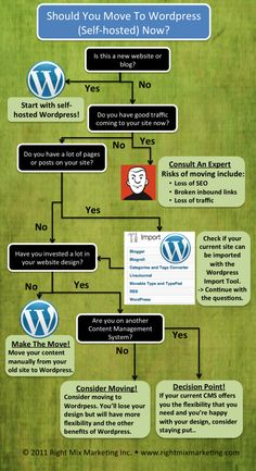 Decision Tree for whether or not to move to self-hosted Wordpress from other blogging platforms. #blogging #wordpress