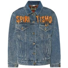Gucci Spiritismo Embellished Denim Jacket (€2.210) ❤ liked on Polyvore featuring outerwear, jackets, blue, jean jacket, blue jackets, embellished denim jacket, gucci and denim jacket