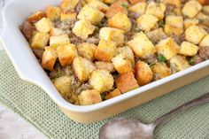 This Sausage and Corn Bread Stuffing is sure to be a hit when you serve it for Thanksgiving dinner!