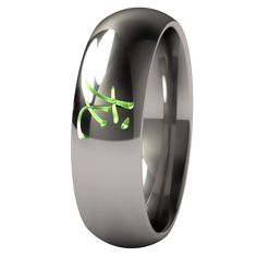 A classic, simple domed aircraft-grade titanium ring adorned with a lightly carved in Chinese for the Dragon.