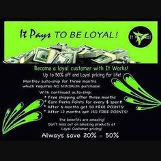 LOOKING FOR FOUR LOYAL CUSTOMERS that want to save 40% on your all natural ItWorks products! ItWorks supplements can help you  lose weight get healthier relax more regain your focus jumpstart your bikini body...improve your quality of life.  We know you're wondering about it. Go ahead...become a Loyal Customer and see how these all natural products can help you. I would love to have you as a member of the ItWorks family. Men and women are getting healthier losing weight and making money in…
