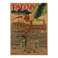 Vintage Travel Poster, Padova, Italy