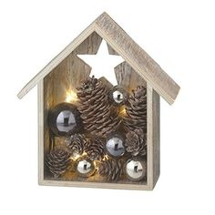 Midwest-CBK Lighted LED House with Star - Ornaments and Pine Cones - Illuminated Table Christmas Decoration - -in How To Make Ornaments, Holiday Ornaments, Holiday Crafts, Pine Cone Decorations, Christmas Table Decorations, Handmade Christmas, Christmas Crafts, Christmas Presents, Christmas Ideas