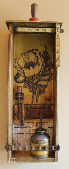 Encaustic and Found Objects--Junk Series--Artist:  Kathy Moore
