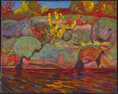size: Premium Giclee Print: Autumn Colours Art Print : Transportation Printed on thick, premium watercolor paper, this stunning print was made using a giclée printing process that delivers pure, rich color and remarkable detail. Tom Thomson, Emily Carr, Lake Painting, Painting Edges, Canadian Painters, Canadian Artists, Art Inuit, Group Of Seven Paintings, National Art