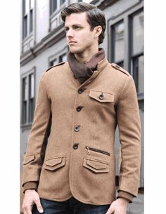Menk Herringbone Wool Military Sportcoat