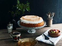 A cake that tastes like spring. Its lofty topping of toasted meringue makes an easy recipe look fancy, so it's ideal for serving to company or toting along to a picnic or potluck.