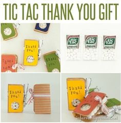 These little tic-tac thank you gifts are perfect to keep on hand for a quick and simple thank you gift. They are super easy to make and you can customize them for different events by using another stamp. They'd also make adorable party favors!