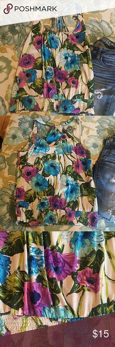 Beautiful floral top Bright purple, blue, and green flowers, with white base. By Twenty one. Great condition, very light and comfy. Beautiful colors. twenty one Tops